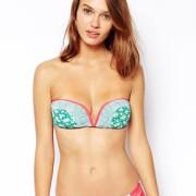 Piha - Bikinioberteil im Bandeau-Stil mit Ethnomuster und V-Draht - Grün