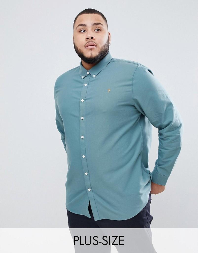 Farah PLUS - Brewer - Schmal geschnittenes Oxford-Hemd in Grün - Grün - Farbe:Grün