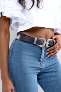 ASOS - Gürtel für Taille oder Hüfte mit zwei Schnallen im Westernstil - Schwarz - Farbe:Schwarz