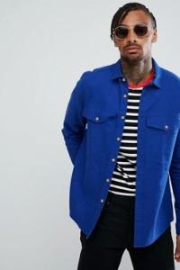ASOS - Blaue Hemdjacke aus Leinenmischung mit Brusttasche - Blau - Farbe:Blau