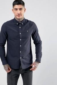 Farah - Brewer - Dunkelblaues Oxford-Hemd in schlanker Passform - Navy - Farbe:Navy