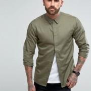 Another Influence - Schmal geschnittenes Hemd mit Bahneneinsatz - Grün - Farbe:Grün