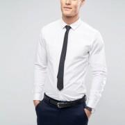 ASOS - Schmales Stretch-Hemd in Weiß mit schwarzer Krawatte