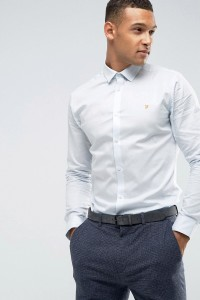 Farah - Elegantes Oxford-Hemd mit schmalem Schnitt - Blau - Farbe:Blau