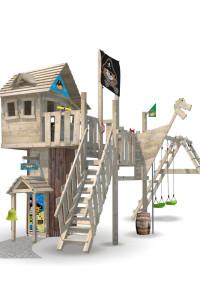 Das Baumhaus NeverLand von Wickey besteht aus Holz. Zudem führen wir eine große Auswahl individueller Spieltürme direkt im Shop.
