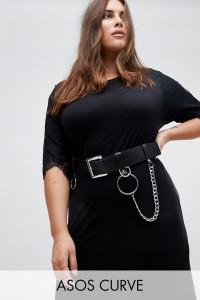 ASOS CURVE - Gürtel für Taille und Hüfte mit Ketten und Ringen - Schwarz - Farbe:Schwarz
