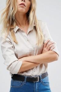 ASOS - Gürtel für Taille und Hüfte mit Schnalle in Roségold - Schwarz - Farbe:Schwarz