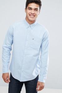 Hollister - Blaues Oxford-Hemd in schmaler Passform mit Button-down-Kragen - Blau - Farbe:Blau
