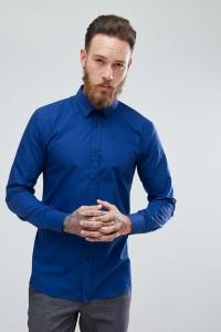 HUGO - Extra schmal geschnittenes Popeline-Hemd in Kobaltblau - Blau - Farbe:Blau