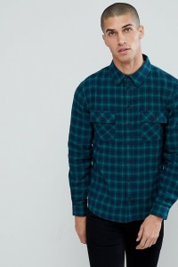 Another Influence - Kariertes Flanellhemd mit zwei Taschen - Navy - Farbe:Navy