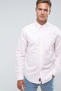 Abercrombie & Fitch - Schmal geschnittenes Oxford-Hemd in Rosa - Rosa - Farbe:Rosa