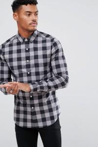ASOS - Buffalo - Kariertes Hemd in enger Passform - Grau - Farbe:Grau