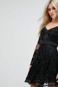 A Star Is Born - Verziertes Mini-Skaterkleid mit Trompetenärmeln - Schwarz - Farbe:Schwarz
