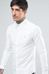 Farah - Enges Oxford-Hemd mit Stretch-Anteil und geknöpftem Kragen in Weiß - Weiß - Farbe:Weiß