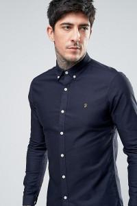 Farah - Enges Oxford-Hemd mit Stretch-Anteil und geknöpftem Kragen in Marine - Navy - Farbe:Navy