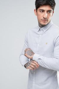 Farah - Enges Oxford-Hemd mit Stretch-Anteil und geknöpftem Kragen in Grau - Grau - Farbe:Grau