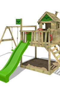 Kinderspielgestell FATMOOSE RockyRanch Roll XXL mit Schaukel. Hochwertige und farbenfrohe Klettertürme zu kleinen Preisen im Wickey Shop.