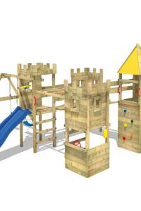 Klettergerüst Wickey Smart Excalibur mit 120 und 150cm Podesthöhe inkl. Rutsche und Schaukeln. Hochwertige Spieltürme und Betten für Kinder bei Wickey!