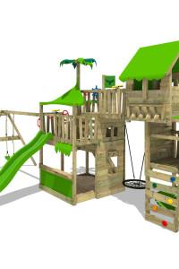 FATMOOSE Kinderspielturm TropicTemple Tall XXL mit Nestschaukel. Hochwertige und farbenfrohe Klettertürme zu kleinen Preisen im Wickey online Shop!