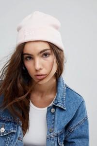 adidas - Bestickte Strickmütze in Blassrosa mit Logo - Rosa - Farbe:Rosa