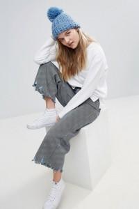 Alice Hannah - Strickmütze mit Spitze - Schwarz - Farbe:Schwarz