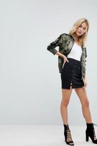 AFRM - Jeans-Minirock mit Schnürung - Schwarz - Farbe:Schwarz