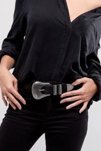ASOS - Schlichter Western-Jeansgürtel mit übergroßer Schnalle - Schwarz - Farbe:Schwarz