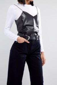 ASOS - Schlichter Jeansgürtel mit doppelter Schnalle - Schwarz - Farbe:Schwarz