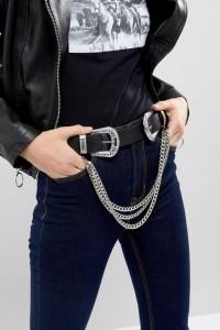 ASOS - Gürtel mit zwei Schnallen und Ketten im Westernstil - Schwarz - Farbe:Schwarz