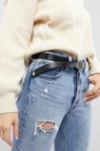 ASOS - Boyfriend-Gürtel für Taille und Hüfte mit Sternendesign an den Enden - Schwarz - Farbe:Schwarz