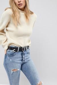 ASOS - Jeansgürtel aus Leder mit runder Schnalle und verzierten Enden - Schwarz - Farbe:Schwarz