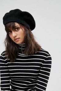 ASOS - Baskenmütze aus Wolle - Schwarz - Farbe:Schwarz