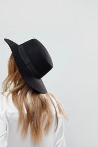 ASOS - Größenverstellbarer Boater-Hut aus Filz - Schwarz - Farbe:Schwarz