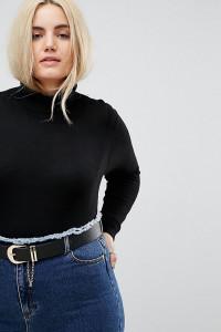 ASOS CURVE - Jeansgürtel aus wasserbasiertem Kunstleder mit Kettendetail - Schwarz - Farbe:Schwarz