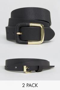 ASOS - 2er-Set aus schmalem Taillengürtel und Jeansgürtel aus PU auf Wasser-Basis - Schwarz - Farbe:Schwarz