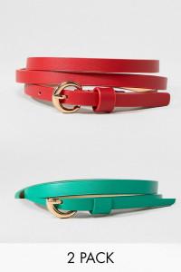 ASOS - 2er-Pack Taillen- oder Hüftgürtel in Rot und Grün - Mehrfarbig - Farbe:Mehrfarbig