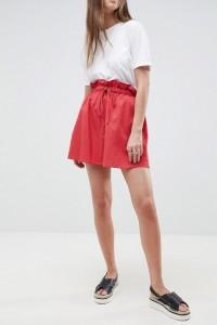 ASOS - Ausgestellter Minirock aus Baumwolle mit Taschen - Rot - Farbe:Rot