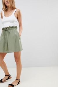 ASOS - Ausgestellter Minirock aus Baumwolle mit Taschen - Grün - Farbe:Grün