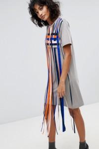 2NDDAY - Mayra - Gestreiftes T-Shirt-Kleid mit Quastenverzierung - Mehrfarbig - Farbe:Mehrfarbig