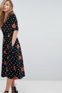 Diesel - Gepunktetes Kleid mit floralem Muster