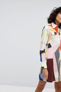 2NDDAY - Gemustertes Hemdkleid mit Reißverschluss - Mehrfarbig - Farbe:Mehrfarbig