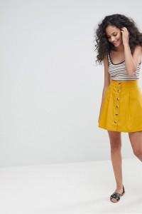ASOS - Ausgestellter Minirock aus Baumwolle mit Knopfleiste - Gelb - Farbe:Gelb
