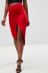 ASOS - Bleistiftrock aus Neopren mit Origamidetail am Saum - Rot - Farbe:Rot