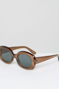 ASOS - Eckige Sonnenbrille im Stil der 90er - Braun - Farbe:Braun