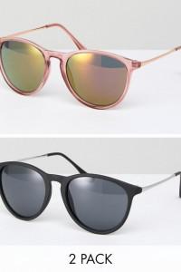 ASOS - 2er-Set runde Retro-Sonnenbrillen mit Schlüssellochdesign in Rosa und Schwarz - Mehrfarbig - Farbe:Mehrfarbig