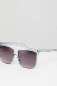 ASOS - Eckige Mode-Sonnenbrille mit flachem Brauensteg in Hellgrau-Kristall - Grau - Farbe:Grau