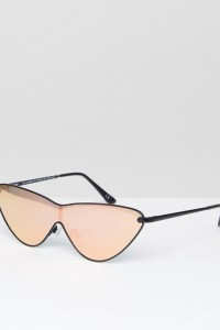 ASOS - Extreme Cateye-Sonnenbrille aus Metall mit roségoldenen Gläsern - Gold - Farbe:Gold