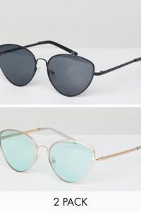 ASOS - Cateye-Sonnenbrillen im 2er-Set in Schwarz und Gold - Mehrfarbig - Farbe:Mehrfarbig