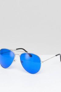 7X - Pilotensonnenbrille mit farbigen Gläsern und Brauensteg - Blau - Farbe:Blau