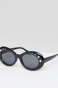 7X - Ovale Sonnenbrille mit breitem Gestell und Perlenverzierung - Schwarz - Farbe:Schwarz